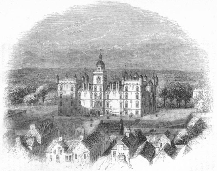 Associate Product DEVON. Heriot's Hospital, Castle Hill, Edinburgh 1845 old antique print