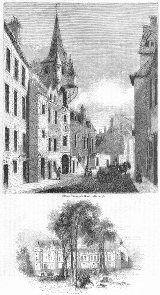 Associate Product SCOTLAND. Canongate Jail, Edinburgh; Falkland 1845 old antique print picture