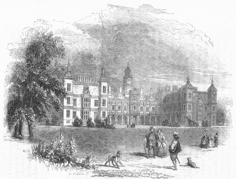 Associate Product HERTS. Hatfield House 1845 old antique vintage print picture