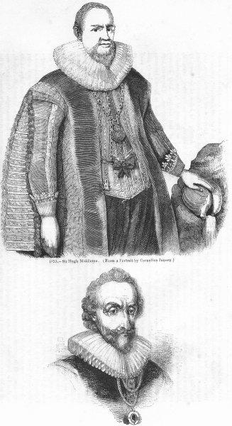 Associate Product PORTRAIT. Hugh Middleton; Wm Alexander, Earl Stirling 1845 old antique print