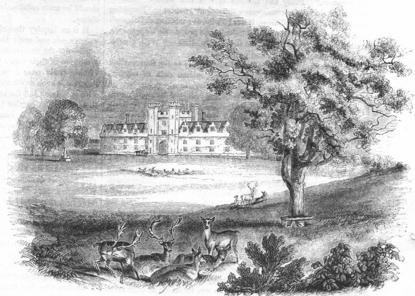 Associate Product KENT. Knowle House and Park, Kent 1845 old antique vintage print picture