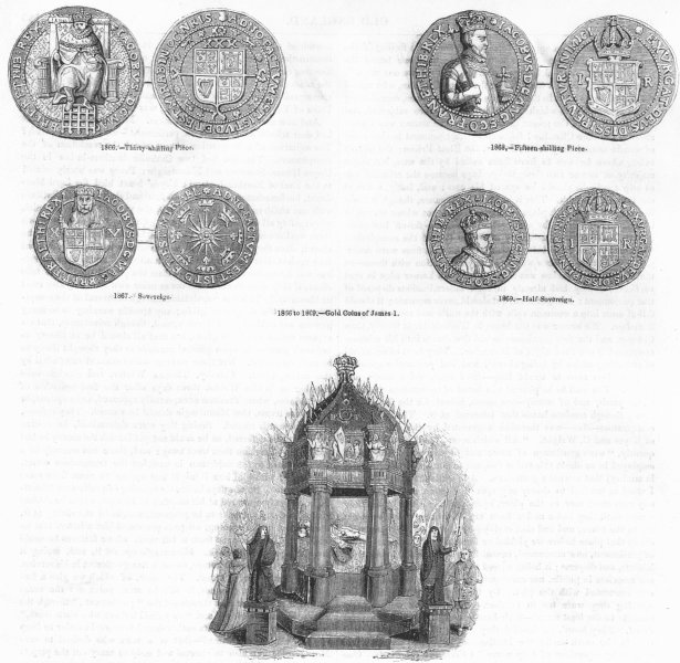 Associate Product JAMES I. 15, 30 shillings; Sovereign; lying in State 1845 old antique print