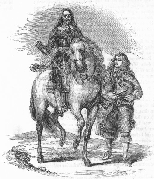 Associate Product ROYALTY. Charles I & Armour-bearer(Vandyke) 1845 old antique print picture