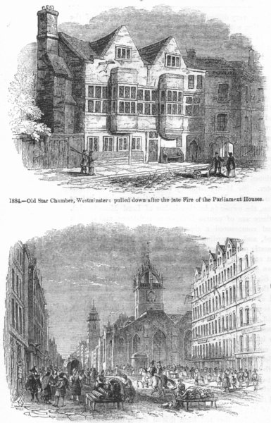 Associate Product STAR CHAMBER, WESTMINSTER. &St Giles, Tron, Edinburgh 1845 old antique print
