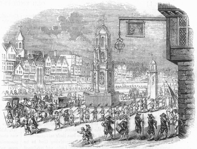 CHEAPSIDE. Mary de Medicis visiting Charles I 1638 1845 old antique print