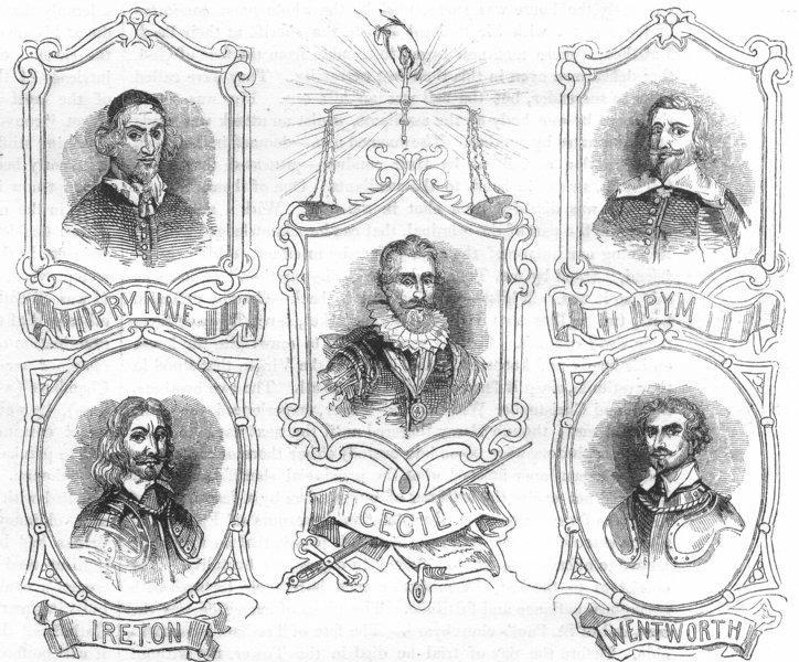 Associate Product PORTRAITS. Cecil, Prynne, Ireton, Pym, Wentworth 1845 old antique print