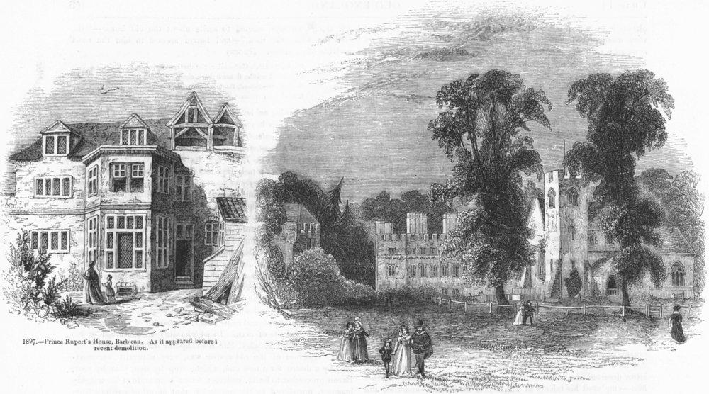 Associate Product LONDON. Prince Ruperts House, Barbican; Hampden Manor 1845 old antique print