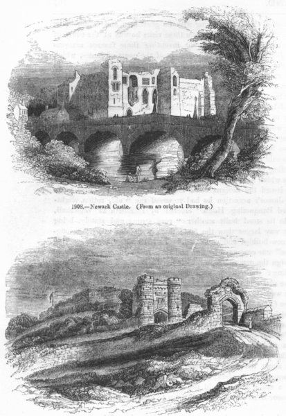 NEWARK. Castle ; Carisbrook, in its present state  1845 old antique print