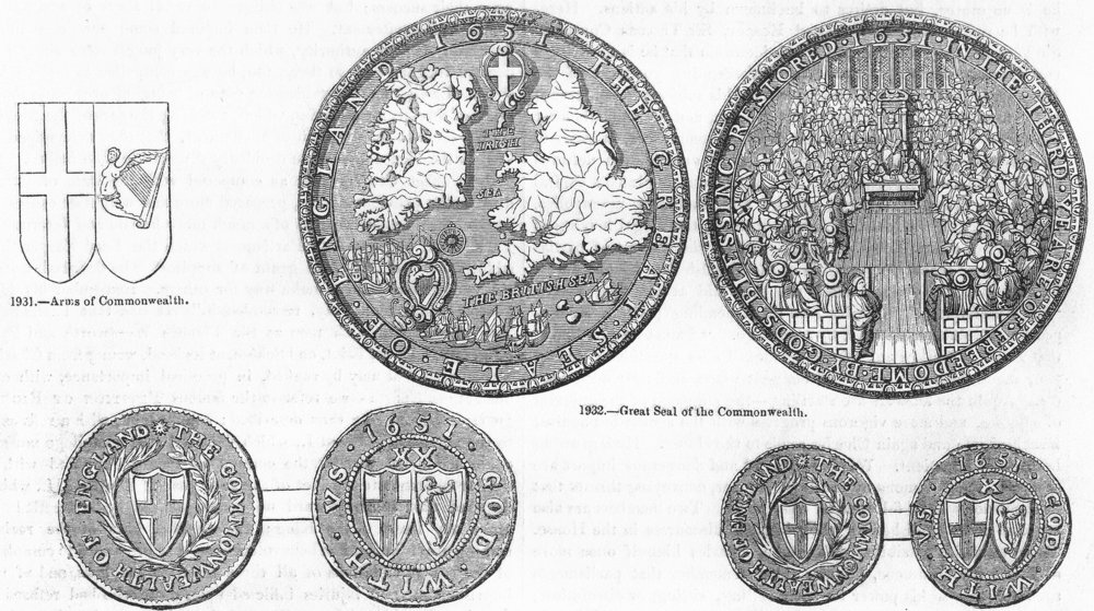 Associate Product COINS. Commonwealth. Arms, seal, 20 & 10 shillings 1845 old antique print