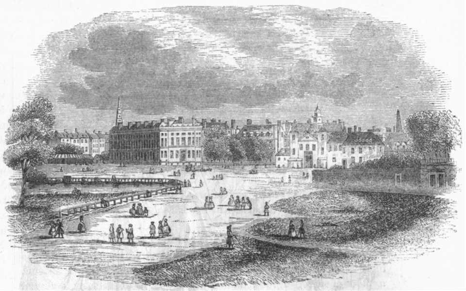 Associate Product LONDON. Horse-guards, St Jamess Park(Canaletti) 1845 old antique print picture