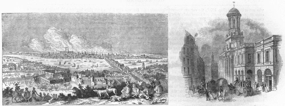 Associate Product LONDON. Gt fire; Royal Exchange, pre 1838 1845 old antique print picture