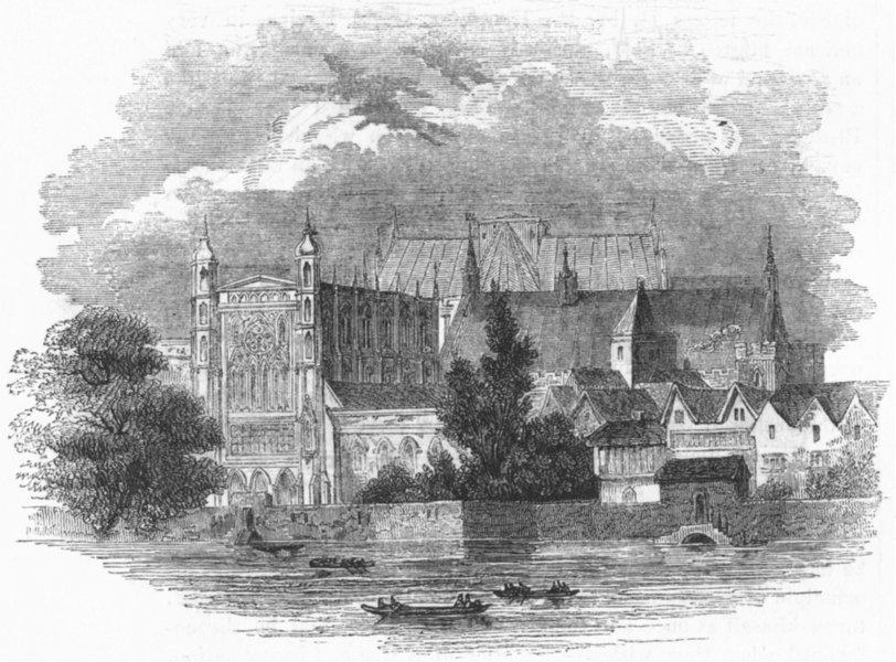 Associate Product LONDON. Houses of Parliament, river. Temp Charles II 1845 old antique print