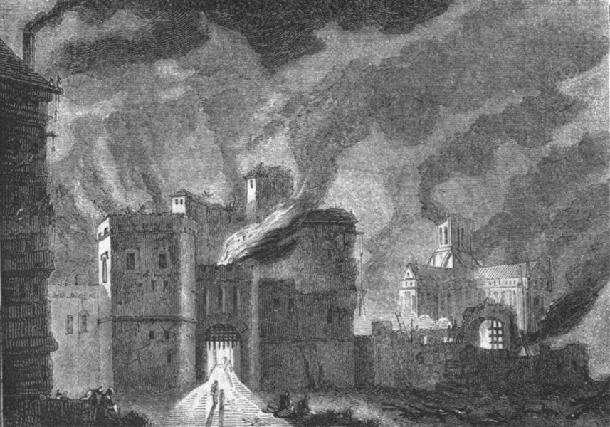 Associate Product NEWGATE. Burning of . Old St Paul's, background 1845 antique print picture
