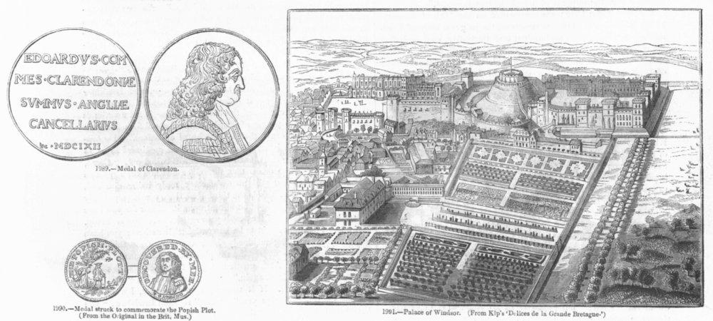Associate Product PALACE OF WINDSOR. & Clarendon, Popish plot medals 1845 old antique print