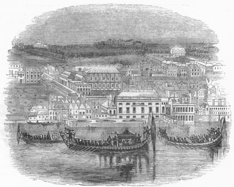 Associate Product LONDON. Whitehall and Royal Regatta 1845 old antique vintage print picture