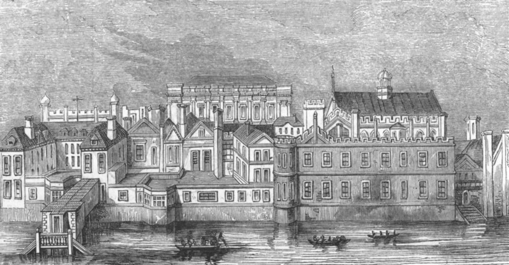 Associate Product LONDON. Whitehall, before fire of 1691 1845 old antique vintage print picture