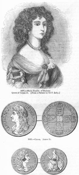 Associate Product JAMES II. Maria Beatrix Modena, Queen; Crown, Hapenny 1845 old antique print