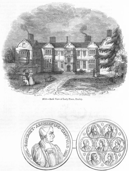 Associate Product HURLEY. Lady Place; &petitioning Bishops medal 1845 old antique print picture