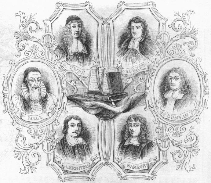 Associate Product CLERGY. Leighton, Hall, Burnet, Bunyan, Barrow, Owen 1845 old antique print