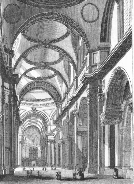 Associate Product LONDON. St Paul's, looking East 1845 old antique vintage print picture