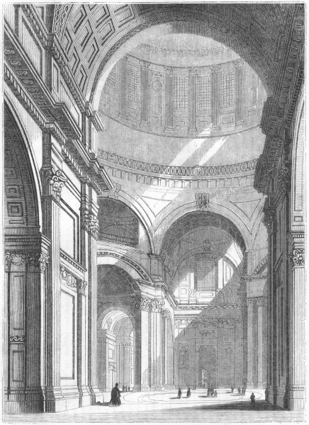 Associate Product LONDON. Paul's, from under Dome 1845 old antique vintage print picture
