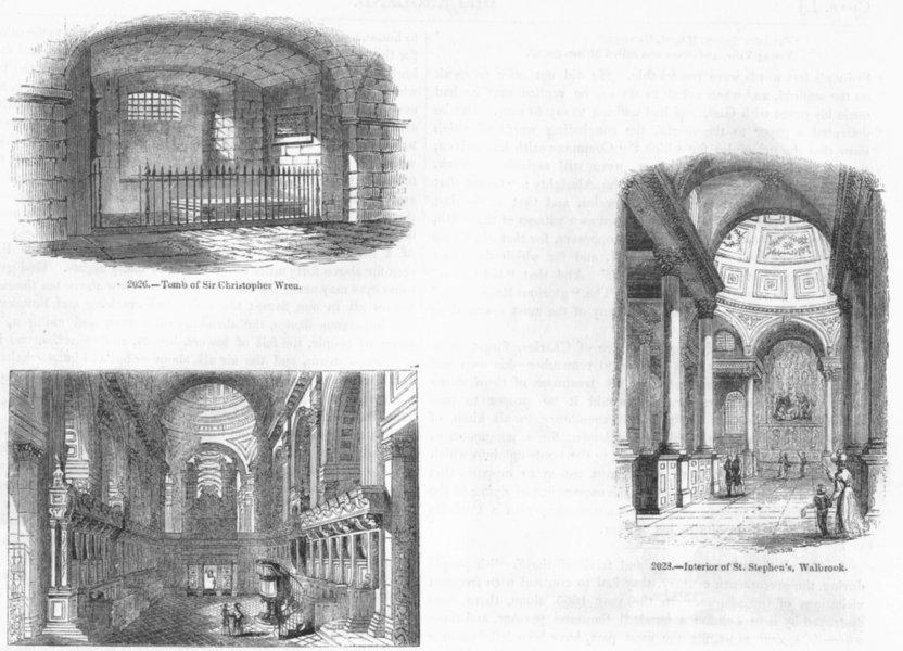 Associate Product ST PAUL'S. Wren's Tomb & Choir; Stephen's, Walbrook 1845 old antique print