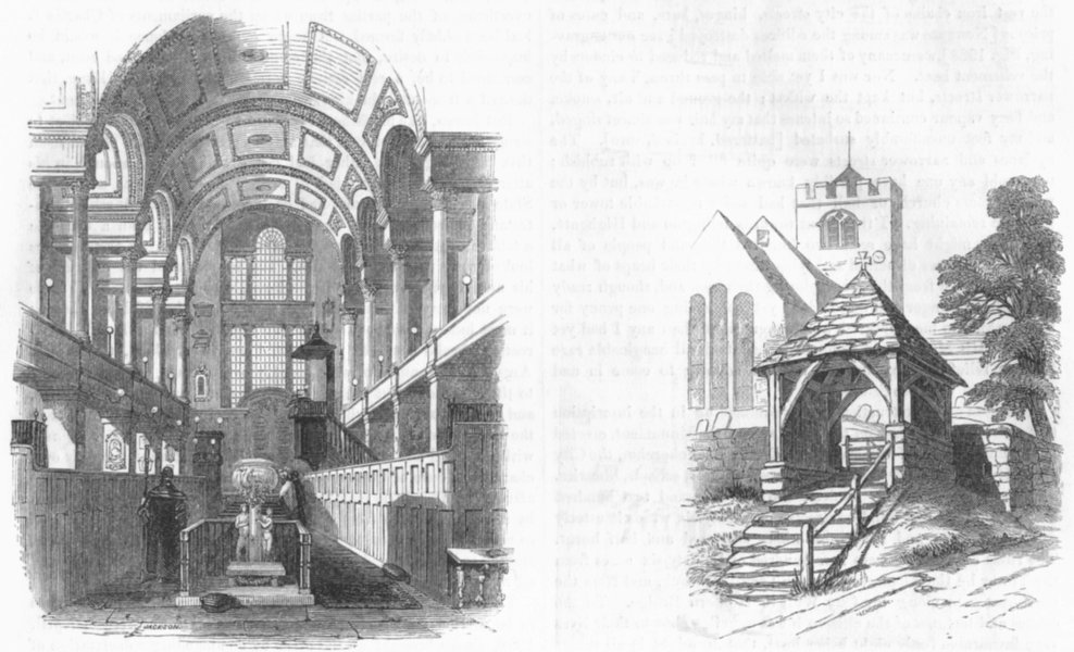 Associate Product LONDON. St James, Westminster; Lich Gate, Pulborough 1845 old antique print