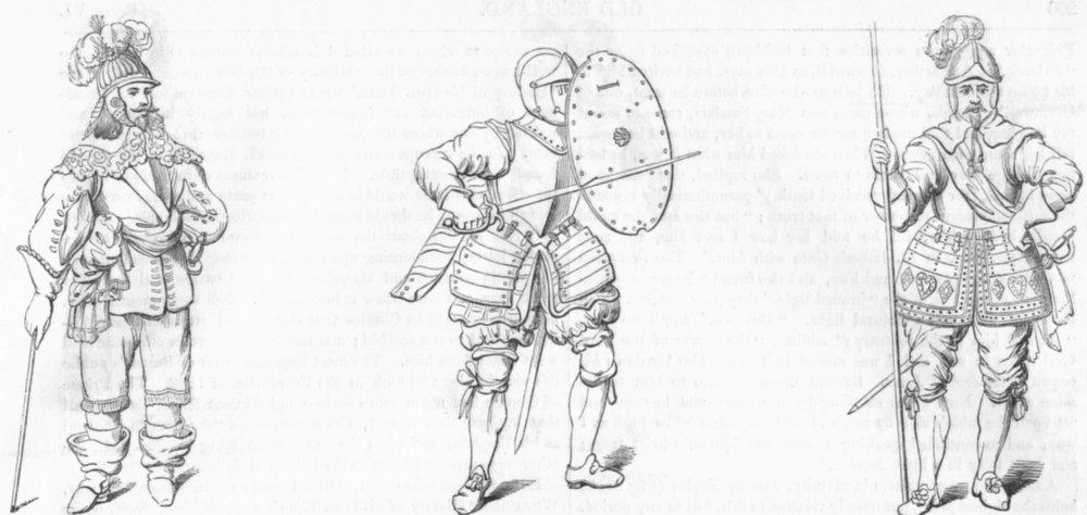 Associate Product MILITARIA. Cavalier; troops Armour; Pikeman(Goodrich) 1845 old antique print