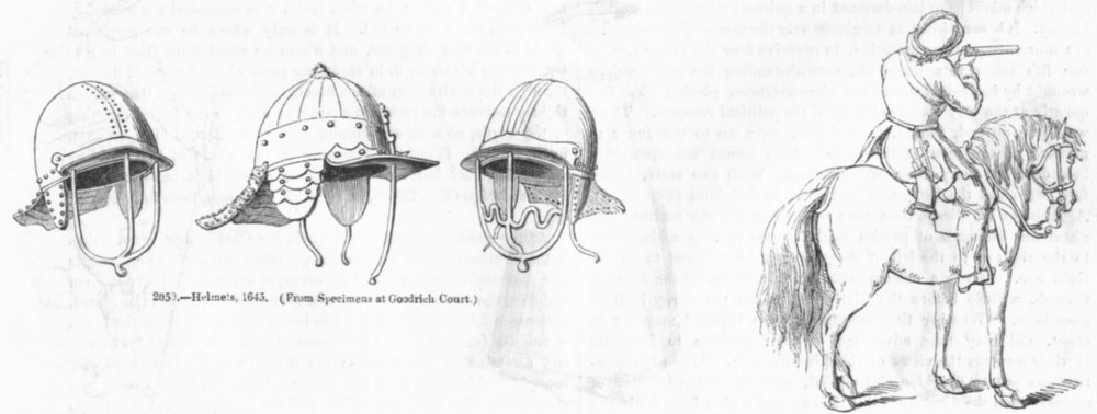 Associate Product MILITARIA. Helmets(Goodrich Ct); Dragoon 1645 1845 old antique print picture