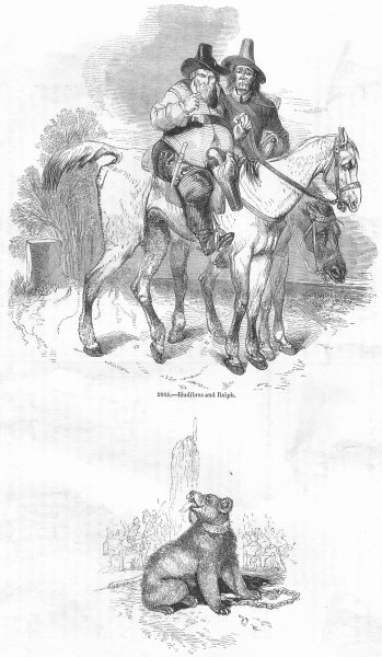 Associate Product MILITARIA. Hudibras & Ralph; bear, stake 1845 old antique print picture