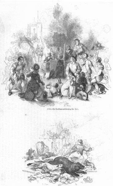 Associate Product MILITARIA. Hudibras addressing mob; flight of bear 1845 old antique print