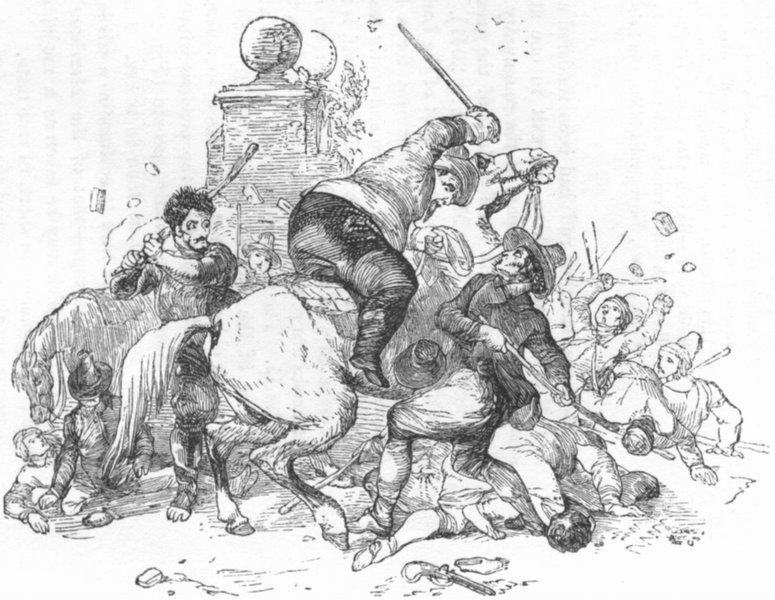 Associate Product MILITARIA. Combat of Hudibras with Orsin & Cerdon 1845 old antique print
