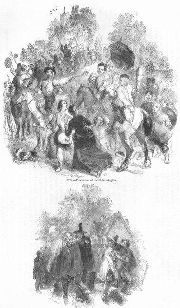 Associate Product SOCIETY. Skimmington parade; Knight led from stocks 1845 old antique print