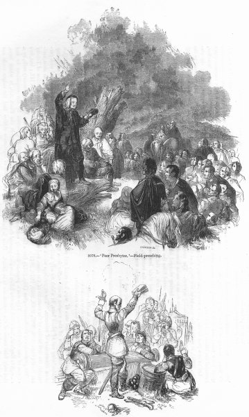 Associate Product CLERGY. Presbyter Preaching; independent dragoon 1845 old antique print