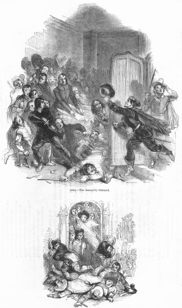 Associate Product SOCIETY. Assembly alarmed; dispersing 1845 old antique vintage print picture