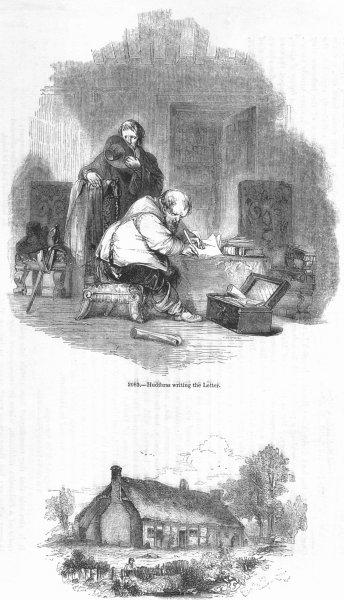 Associate Product PERSHORE. Hudibras writing letter; Butler's House 1845 old antique print
