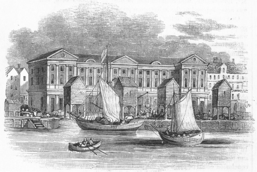 Associate Product LONDON. Custom House, before Gt fire(Hollar) 1845 old antique print picture