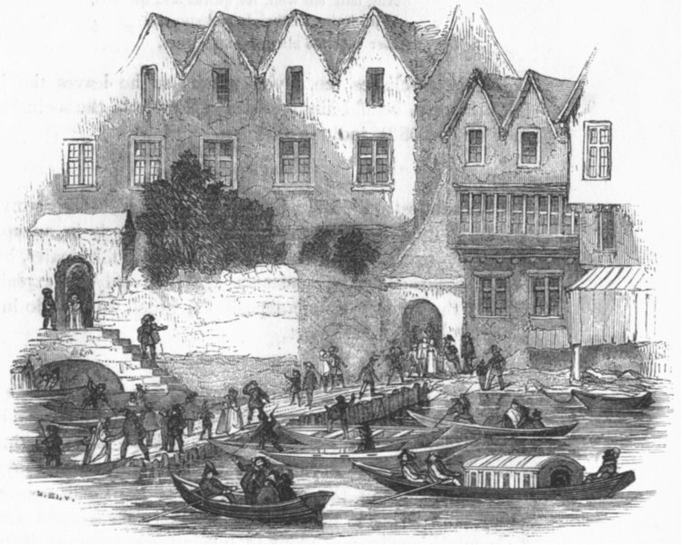 Associate Product LONDON. Palace, Yard stairs, 1641 1845 old antique vintage print picture