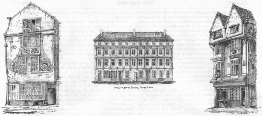Associate Product HOUSES. Moorfields; Craven Hse, Drury Lane; Smithfield 1845 old antique print