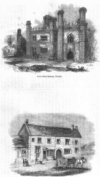 Associate Product NORFOLK. East Basham; Inn, Charmouth 1845 old antique vintage print picture