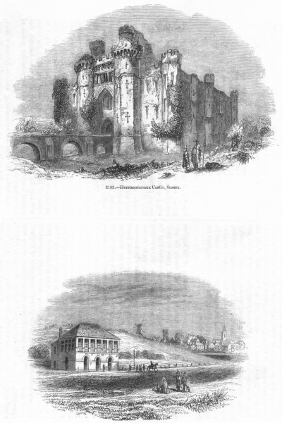 Associate Product SUSSEX. Herstmonceaux Castle; Newmarket racecourse 1845 old antique print