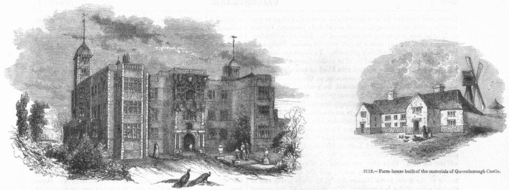 Associate Product KENT. Charlton House; Farm of Queenborough brick 1845 old antique print