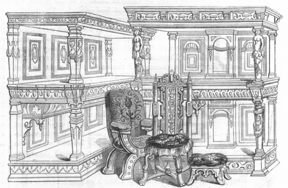 Associate Product DECORATIVE. Furniture of 16th century  1845 old antique vintage print picture