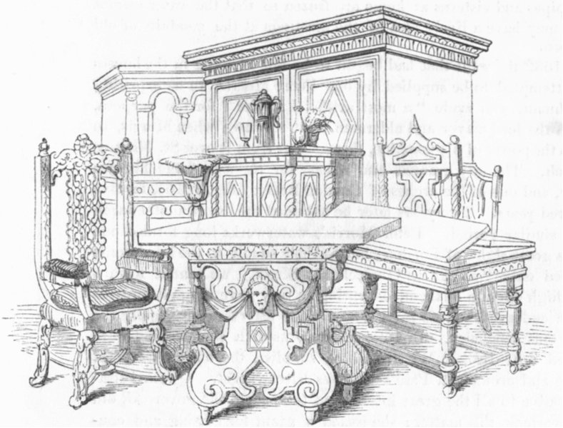Associate Product FURNITURE. Of 16th century  1845 old antique vintage print picture