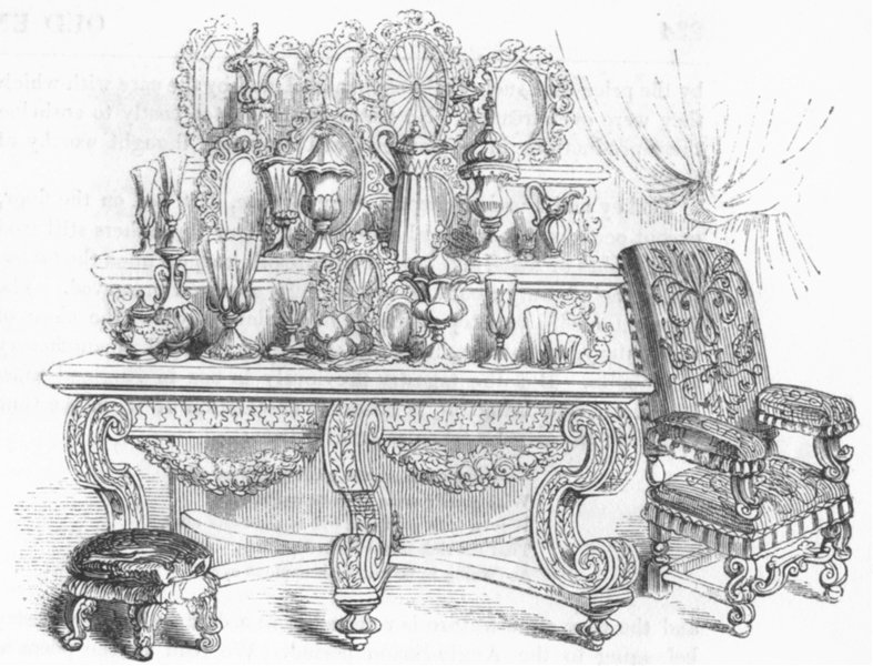 Associate Product FURNITURE. Sideboard, with plate,  1845 old antique vintage print picture