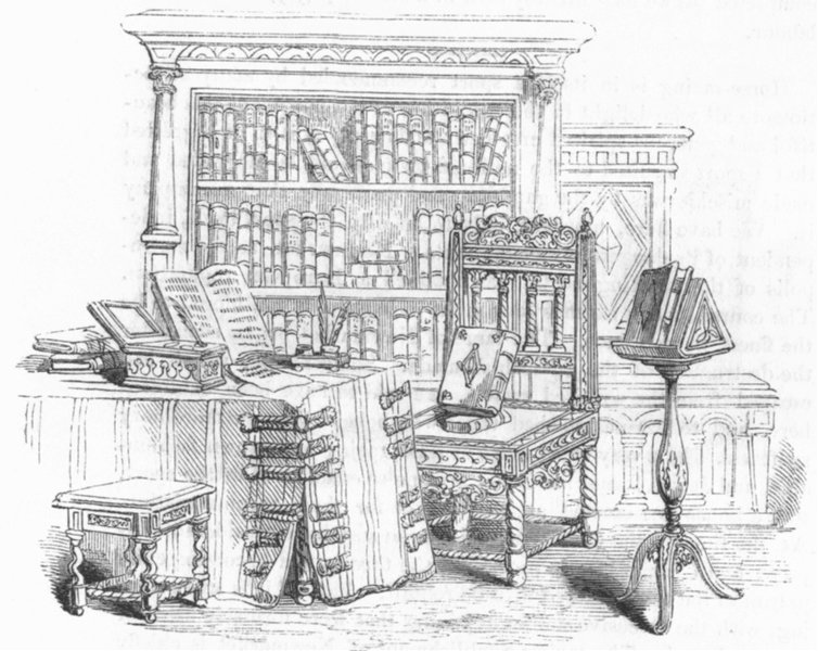 Associate Product LIBRARY FURNITURE. Chair gift Charles II to Ashmole 1845 old antique print