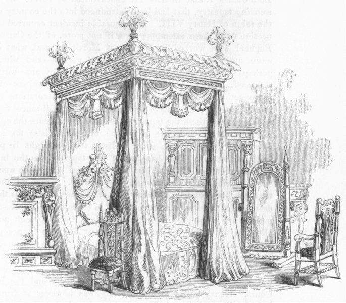 KENT. State bed, dressing-glass Penshurst 1845 old antique print picture