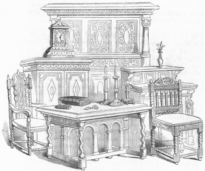 Associate Product BUILDINGS. Sitting-room furniture  1845 old antique vintage print picture