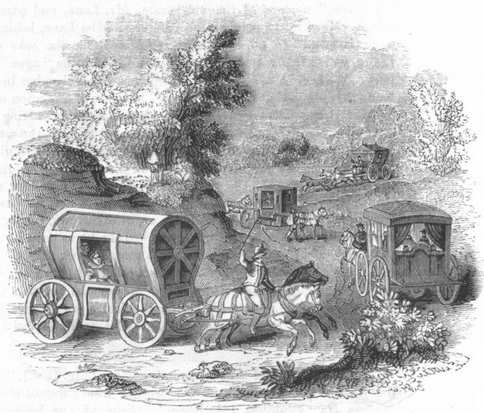 Associate Product LONDON. Hackney coaches 1584 1845 old antique vintage print picture