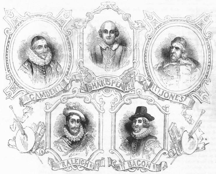 Associate Product PORTRAITS. Group of Portraits 1845 old antique vintage print picture